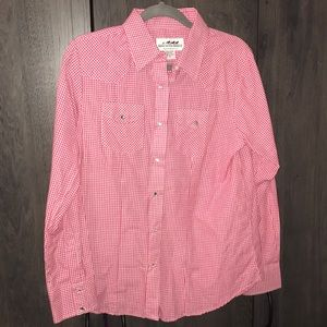 Plaid western long sleeve button up shirt